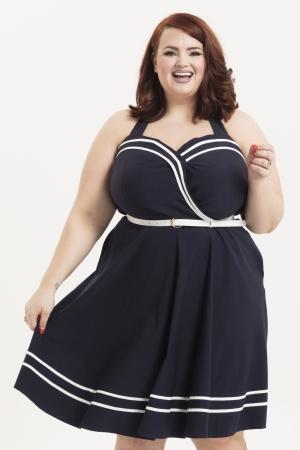 Charlotte Nautical Plus Size Halter Neck Dress