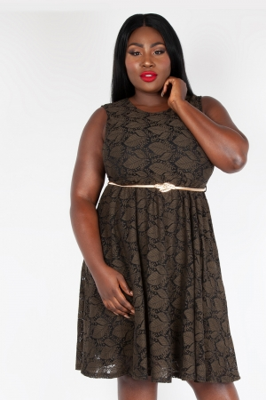 Sophia Vintage Inspired Leaf  Plus Size Dress