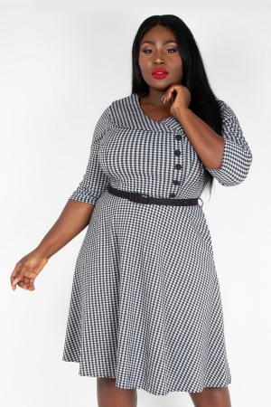 Aubrey Houndstooth Plus Size Flared Dress