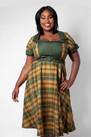 Ella Tartan Flared Plus Size Dress