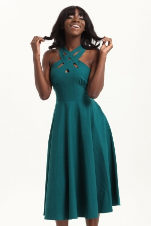 Ava Green Cross Neck Circle Dress