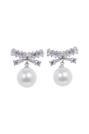 Elegant Pearl & Bow Earrings