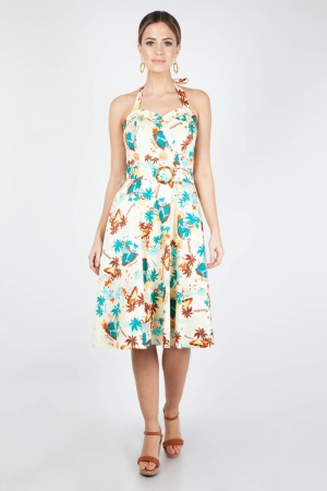 Ella Tropical Print Halter Dress