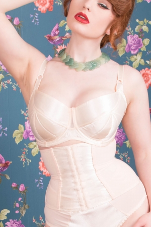Peach Waspie Glamour Nouveau by What Katie Did