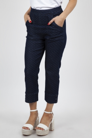 Hailey Polka Dot Denim Capri Pants