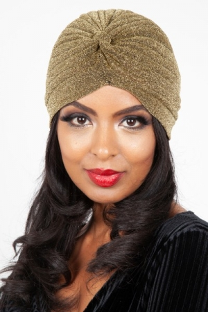 Leila Gold Sparkle Turban