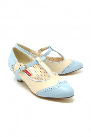 Ione Pale Blue Low Heel T-Bar Shoes by B.A.I.T