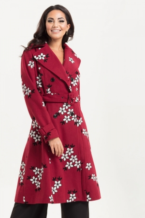 Marjorie Burgundy Floral Trench Coat