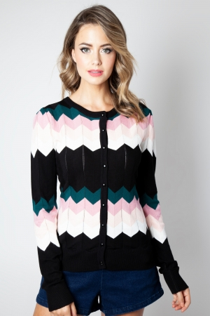 Julia Pink Chevron Cardigan