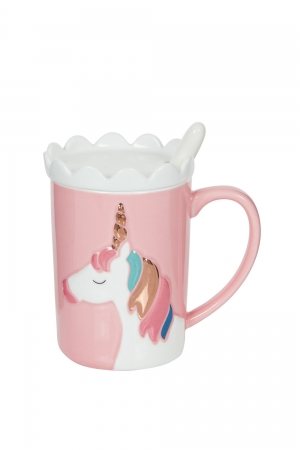 Pink Unicorn Mug With Coaster