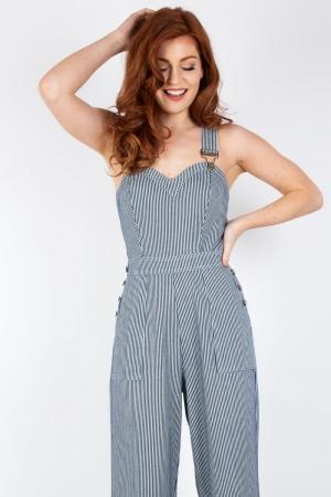 Margaret Stripe Wide Leg Overalls