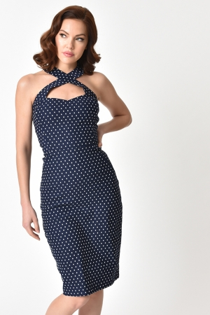 Penelope 1960s Polka Dot Wiggle Dress by Unique Vintage