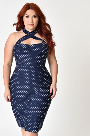 Penelope Polka Dot Plus Size Wiggle Dress by Unique Vintage