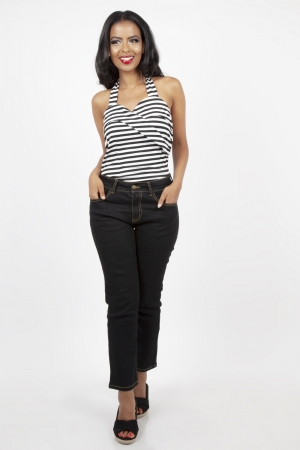 Ronnie Black Stripe Halter Top