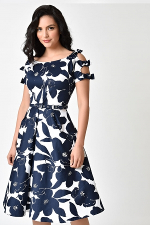 Selma Floral Bow Sleeve Swing Dress by Unique Vintage