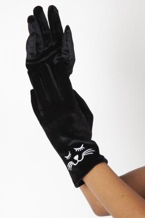 Kitty Black Velvet Gloves