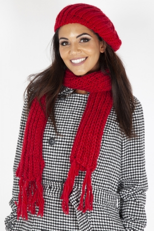 Lucille Red Beret & Scarf Set