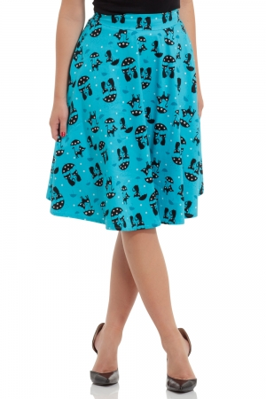 Morgana Blue Retro Cat Skirt
