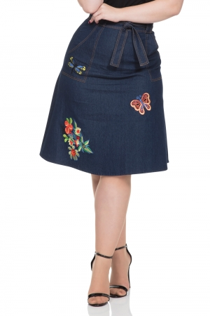 Naomi Denim Embroidered Skirt