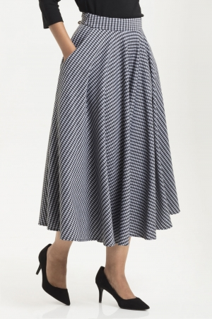 Arianna Houndstooth Flared Skirt