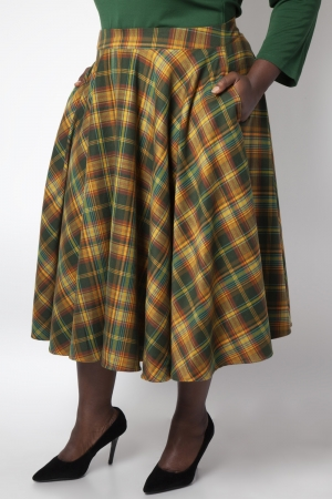 Bridget Plaid Full Circle Skirt in Green Tartan