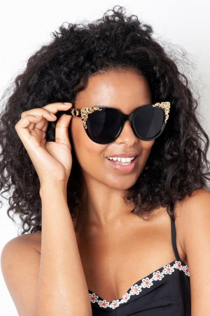 Flora Black & Gold Decorative Sunglasses