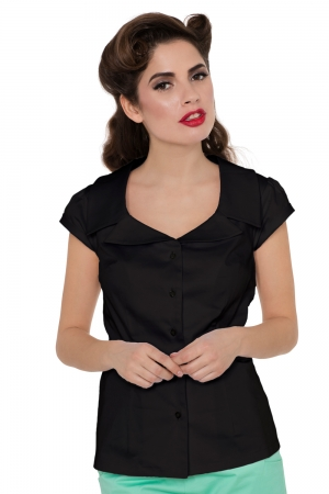 Julie Black Collar Shirt