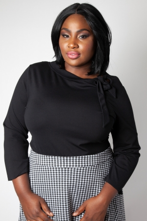 Melanie Black Tie Neck Plus Size Top