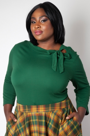 Melanie Green Tie Neck Plus Size Top