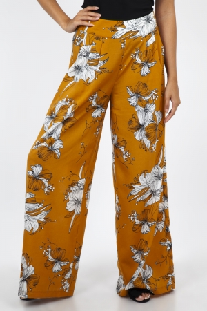 Stephanie Mustard Floral Palazzo Pants