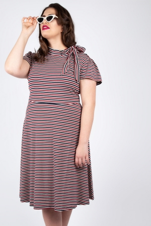 Vixen Curve Corinna Striped Tie Dress