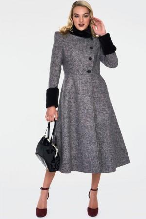 Erin Grey Faux Fur Trim Coat