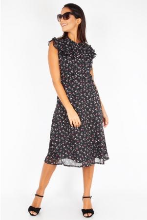 Cheryl Cherry Print Black Tea Dress