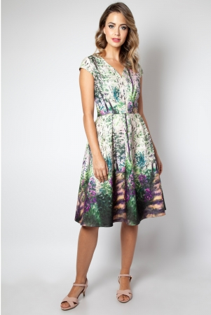 Christina Lilac Road Painted Flared Dress