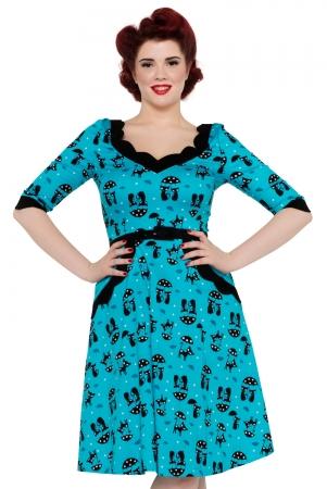 Katnis Blue Flared Cat Dress