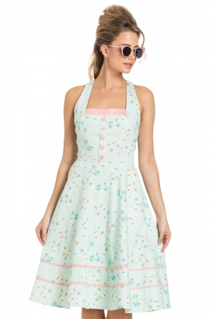 Eva Retro Scooter Print Flared Dress