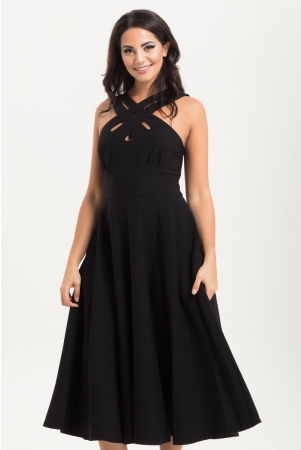 Ava Black Cross Neck Circle Dress
