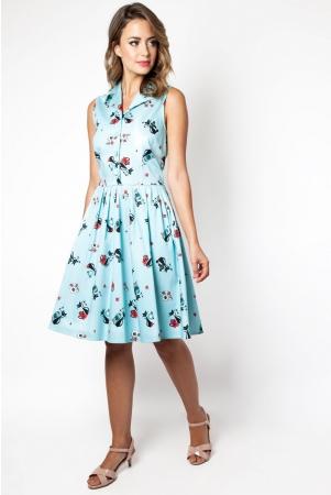 Betty Kitchen Kitty Print Shirt Dress