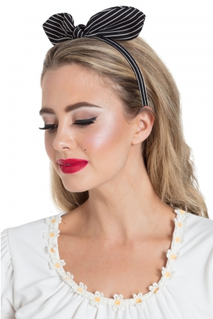 Structured Bow Headband in Black Stripe