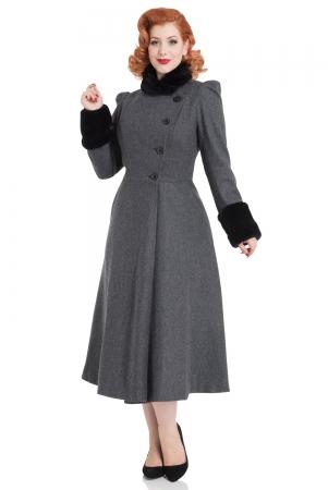 Violet Fur Trim Dress Coat