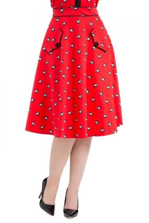 Luella Eight-Ball Red Skirt