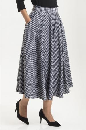 Arianna Houndstooth Flared Skirt