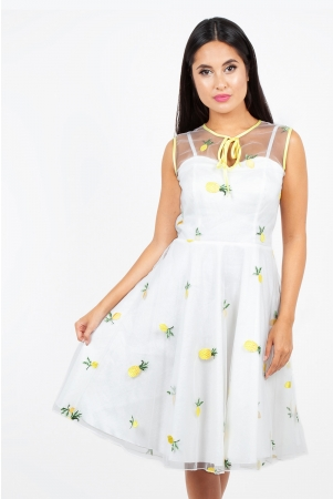 Stacey Pineapple Flared Dress