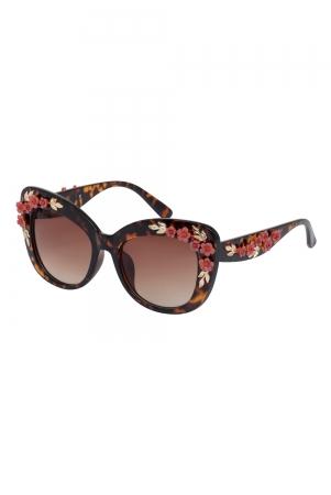 Decorative Floral Glasses Brown