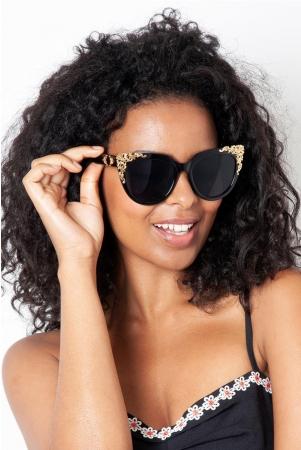 Flora Black & Gold Decorative Sunglasses
