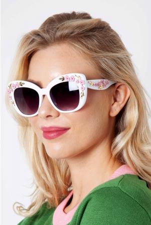 Decorative White Floral Glasses