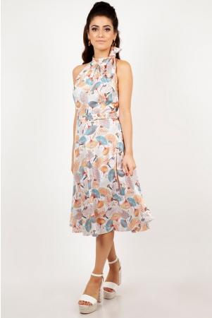Tabby High Neck Fan Print Summer Dress