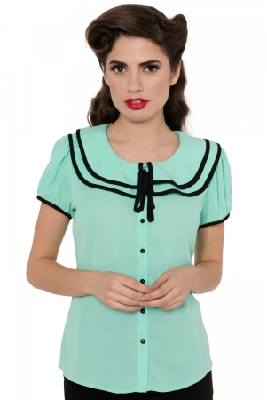 Arabella Green Frilly Button Down Shirt