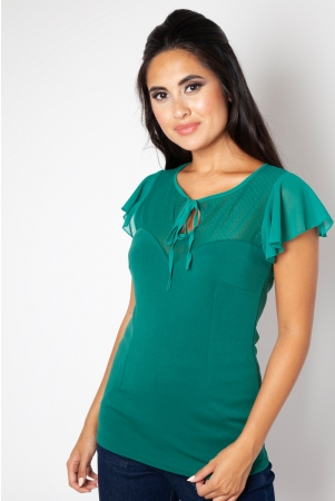 Samantha Mesh Top Green