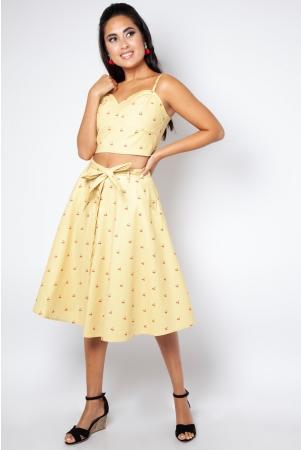 Emily Cherry Stripe Circle Skirt
